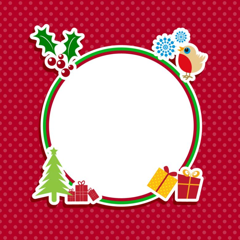 Round Christmas Element Framework Vector