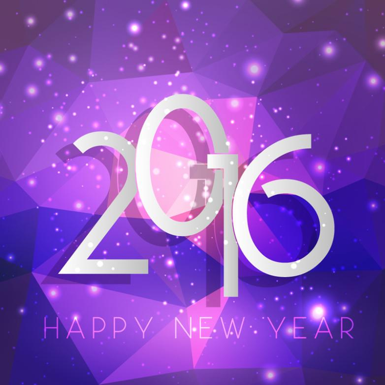 Purple 2016 New Year Greeting Card Vector