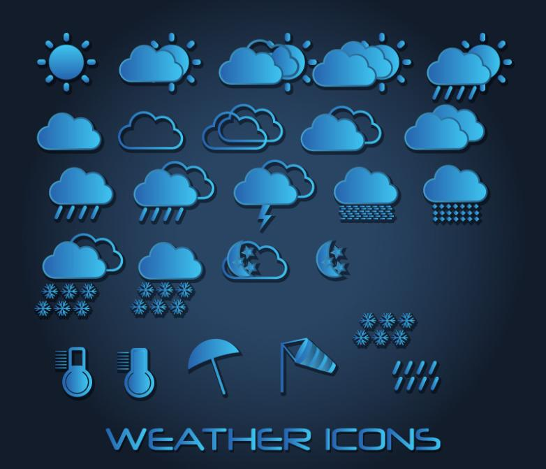 25 Blue Fine Weather Icon Vector