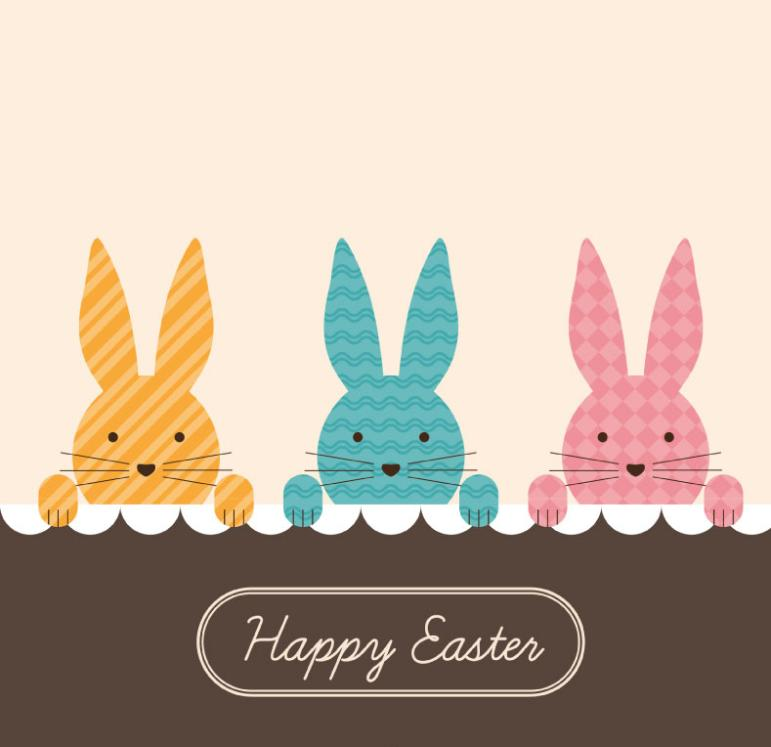 Three Pattern Rabbit Easter Cards Vector