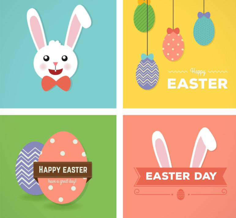4 Tong Qu Easter Cards Vector