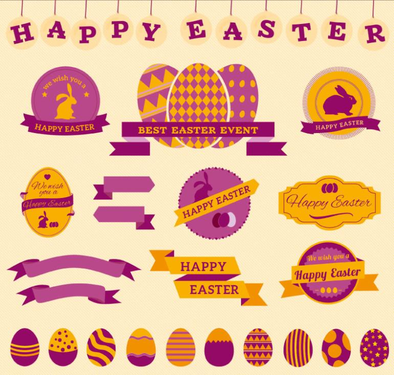 23 Easter Decorative Elements Vector