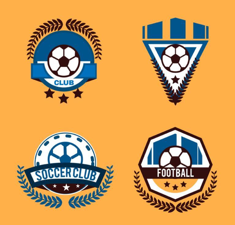 4 Creative Football Club Logo Vector