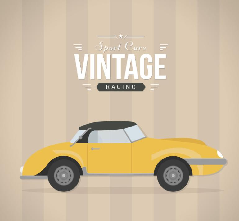 Vintage Yellow Sports Car Vector
