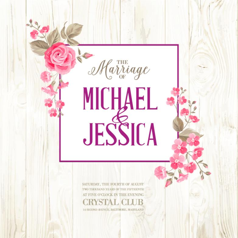 Pink Flowers To Decorate The Wedding Invitation Posters Vector