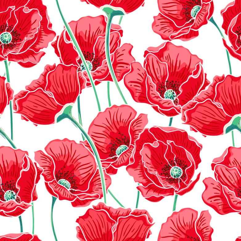 Red Poppy Seamless Background Vector
