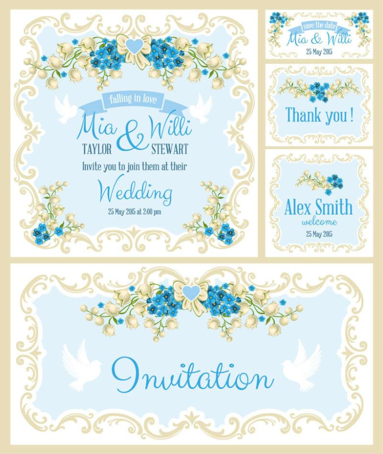 5 Blue Flowers Wedding Invitation Card Vector