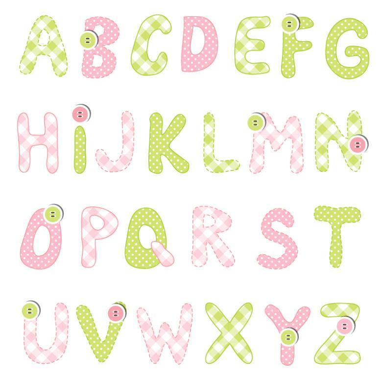 Color Cloth Button Letters Design Vector