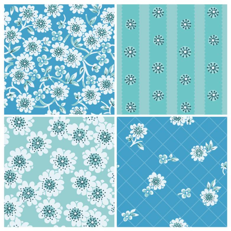 4 Blue Flowers Seamless Background Vector