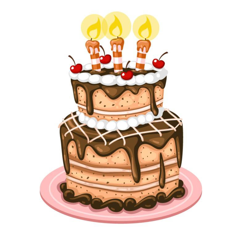 Delicious Chocolate Birthday Cake Vector