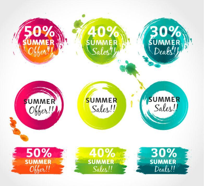 Nine New Watercolor Summer Discount Label Vector