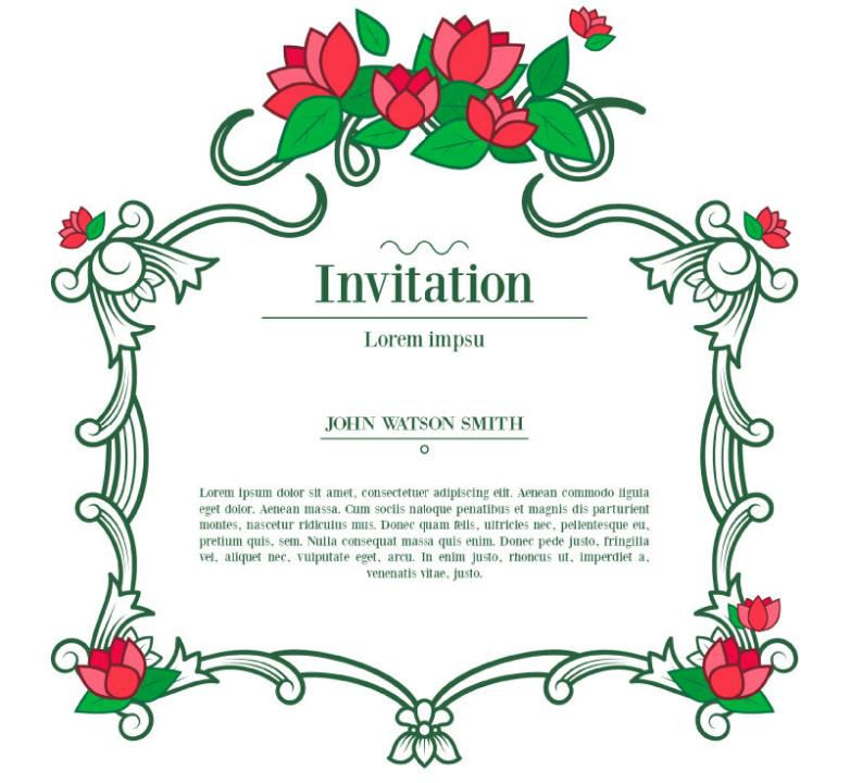 Red Vines Flower Invitation Cards Vector