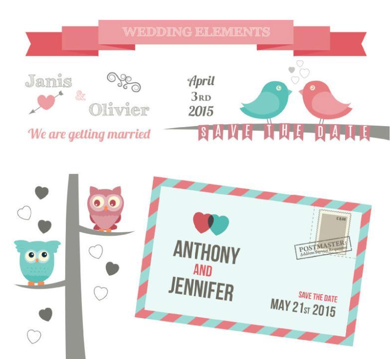 5 Fresh Wedding Elements Vector