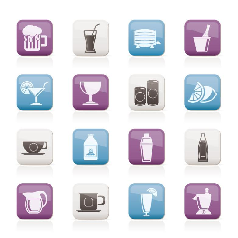 16 Drinks Sticker Icon Vector