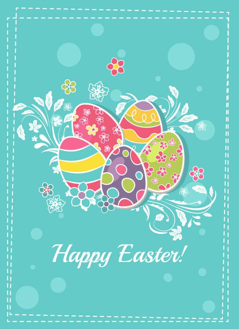 Pure And Fresh And Decorative Pattern Eggs Stickers Vector