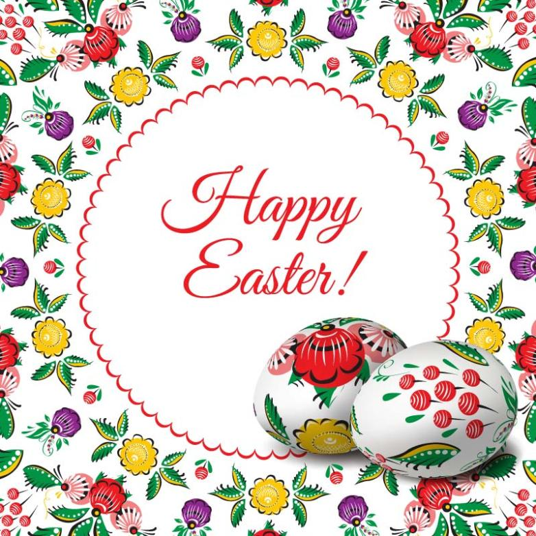 Easter Eggs Decorative Pattern Card Vector