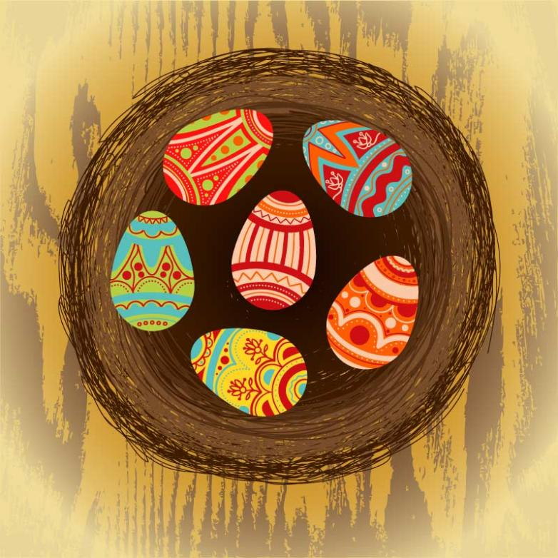 Easter Pattern In The Nest Eggs Vector