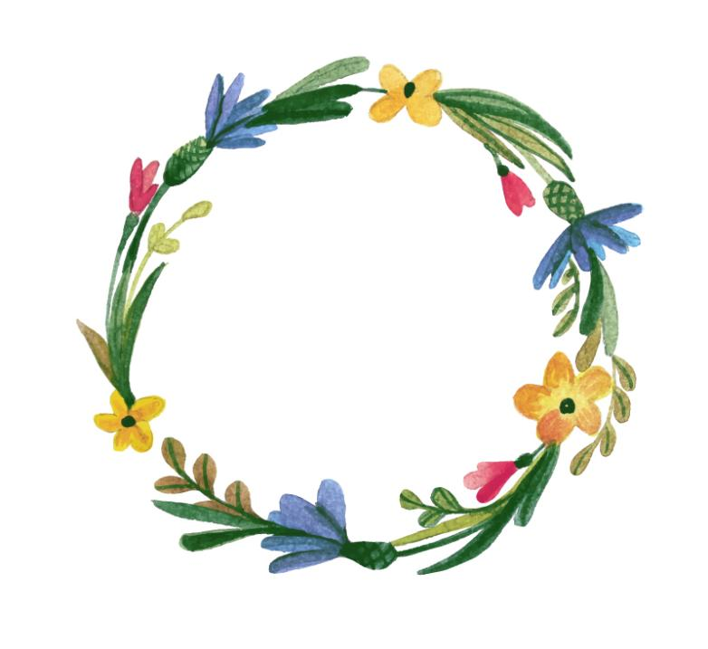 Creative Watercolor Wreath Vector