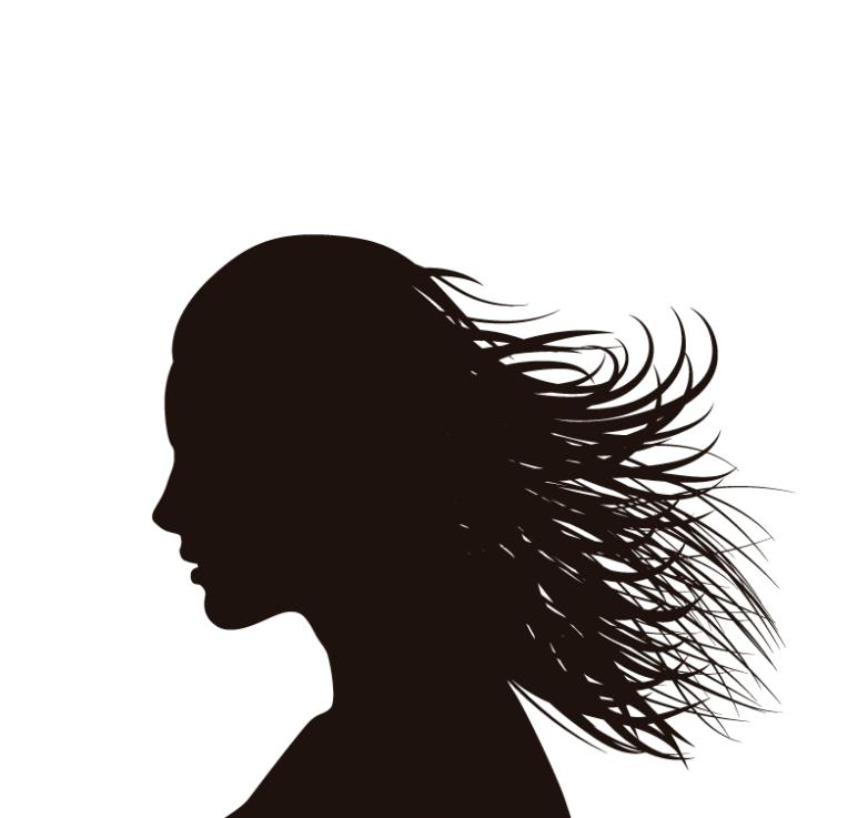 long hair woman side face silhouette vector