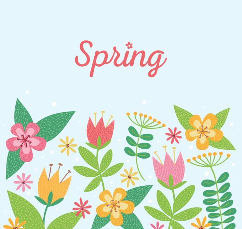 Cartoon Flowers In Spring Vector