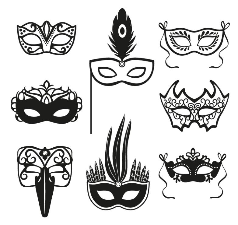 Eight Black Mask Design Vector