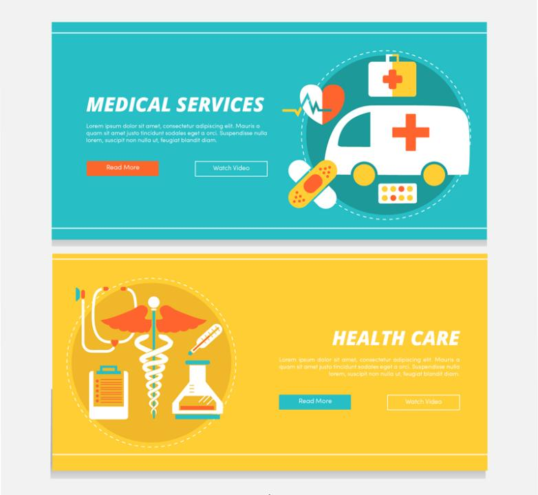 Two Color Medical Banner Vector