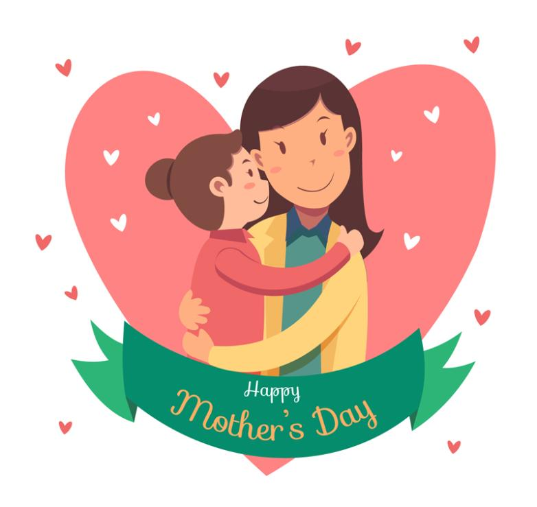 Cartoon Mother And Daughter On Mother's Day Greeting Card Vector