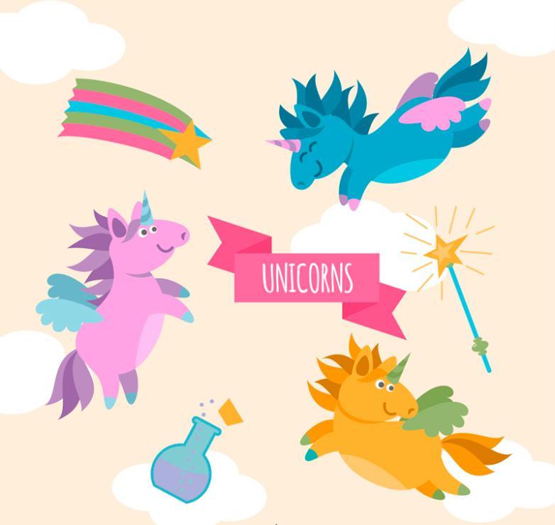 Three Color Unicorns And Magic Wand Design Vector