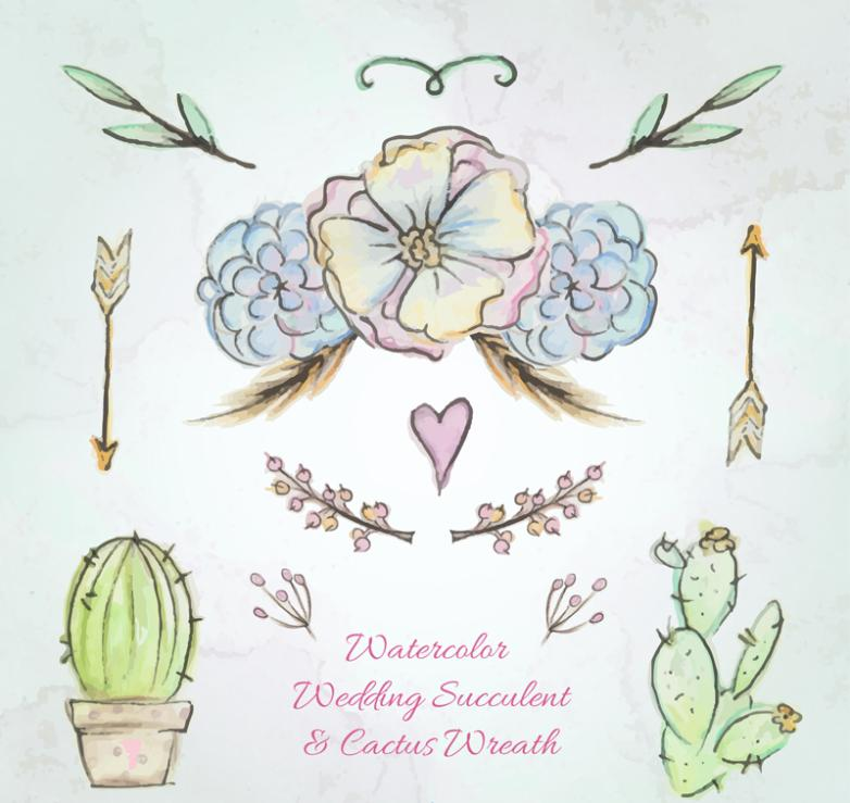 Seven New Water Plants And Wedding Decoration Coloured Drawing Or Pattern Vector