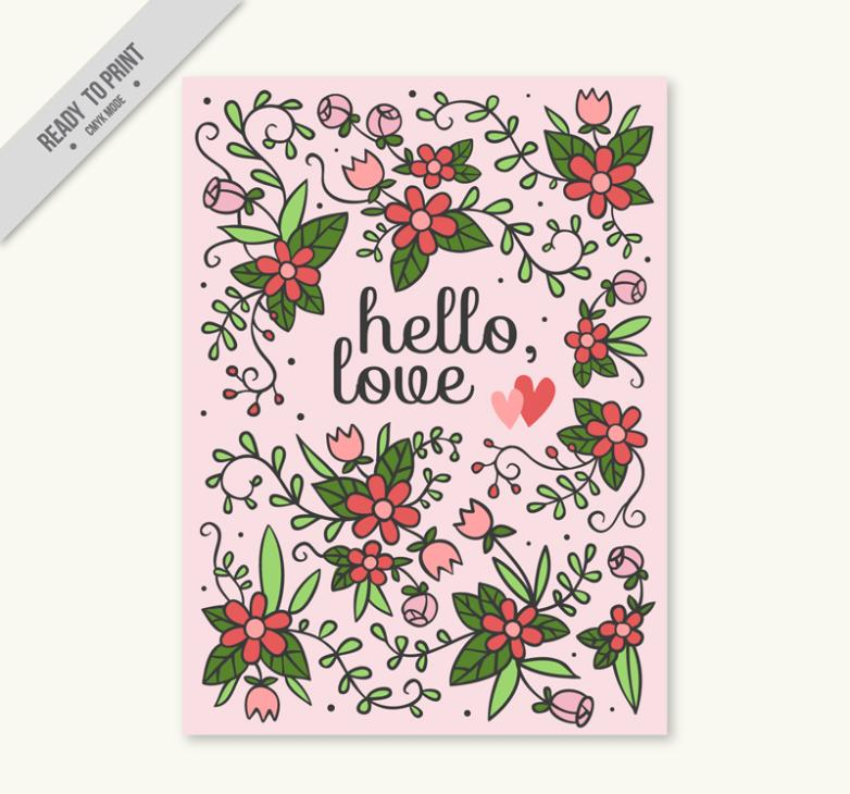 Cartoon Flowers Love Card Vector