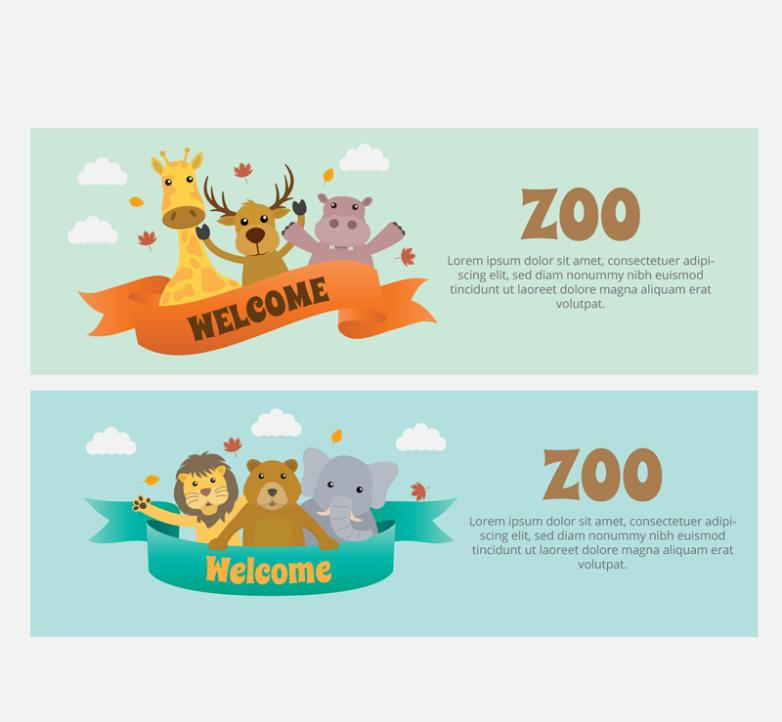 Two Lovely Zoo Welcome Banner Vector