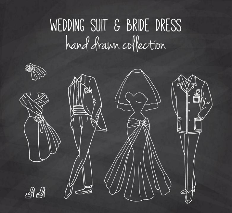 4 Wedding Dress To The Blackboard Vector