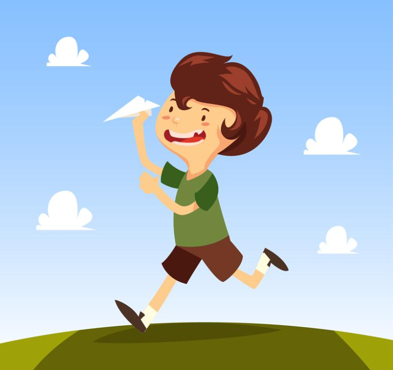 Cartoon Boy Play With Paper Airplanes Vector