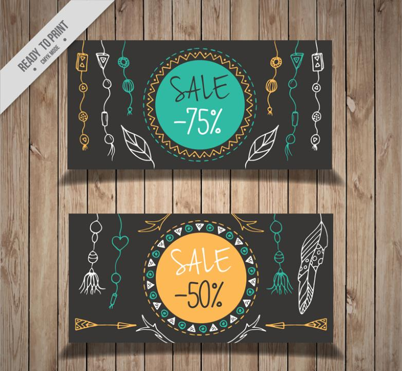 2 Or More Bohemian Promotional Banner Vector