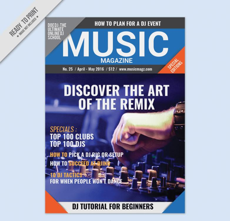 Fashion Music Magazine Cover Design Vector