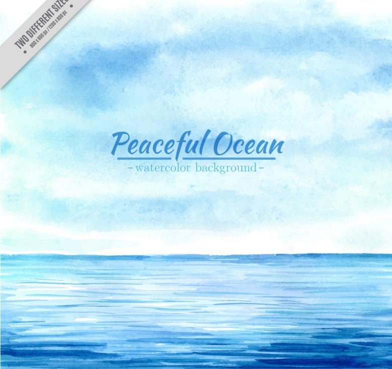 Blue Calm Sea Scenery Vector