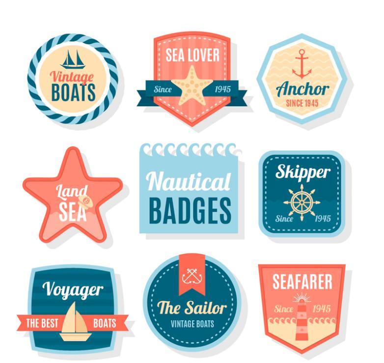 Eight Creative Navigation Mark Label Vector