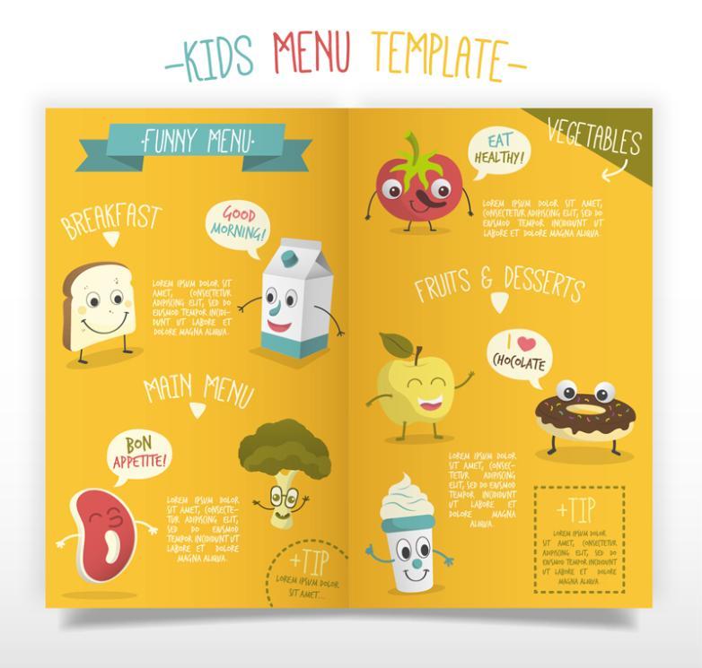 Cartoon Children's Menu Template Vector