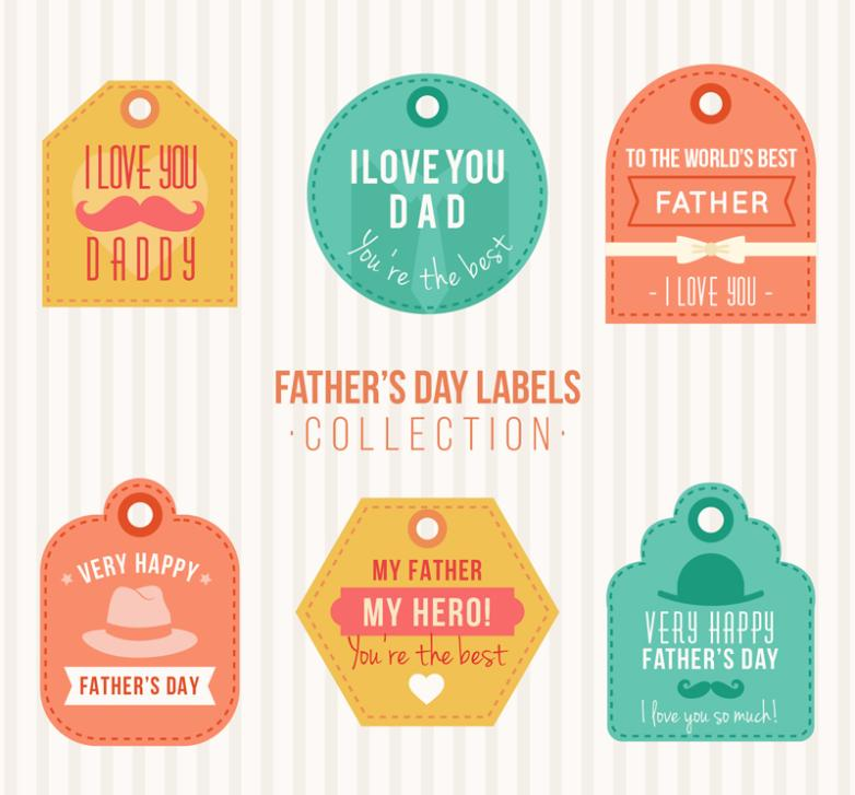 Six Color Father's Day Wishes Vector
