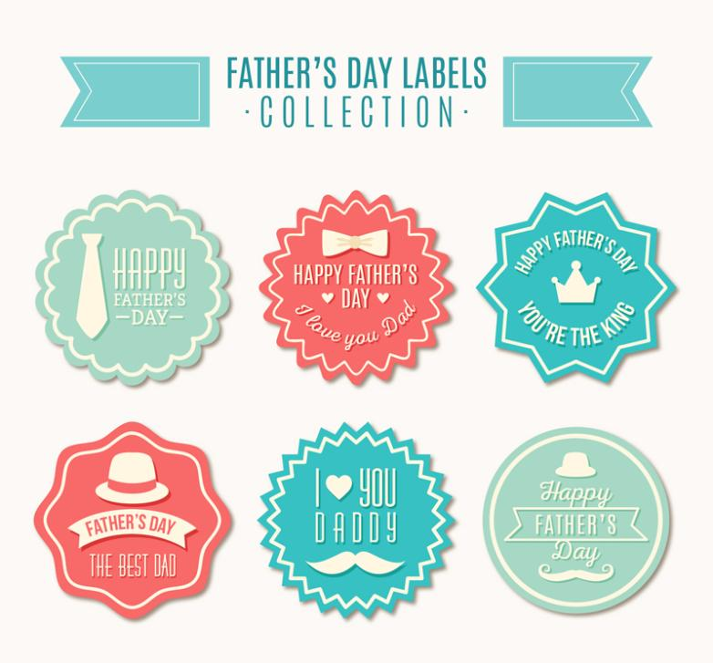 Six Creative Father's Day Wishes Vector