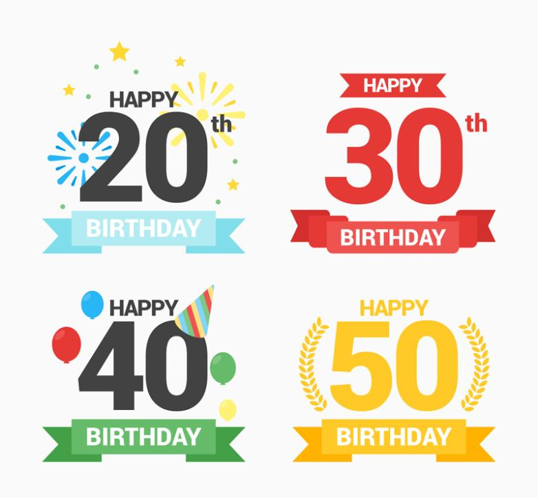 4 Birthday Numbers And Banners Vector
