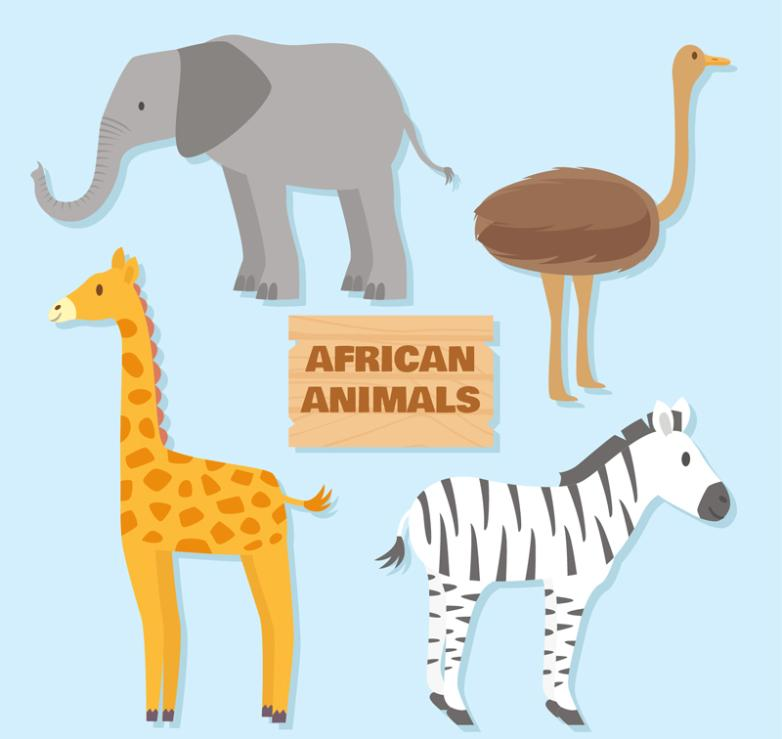 Elephants Ostrich Giraffes The Four Kinds Of Animals In Africa Vector
