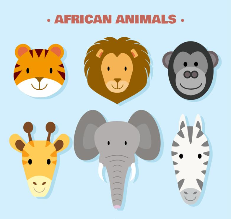 Six Lovely African Animals Vector