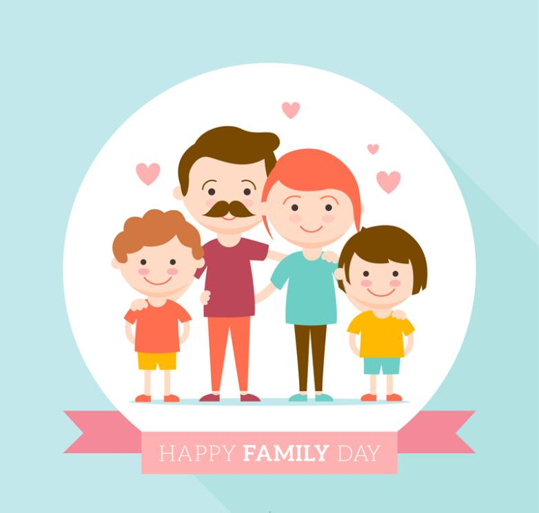 Cartoon Sweet Family Of Four Vector