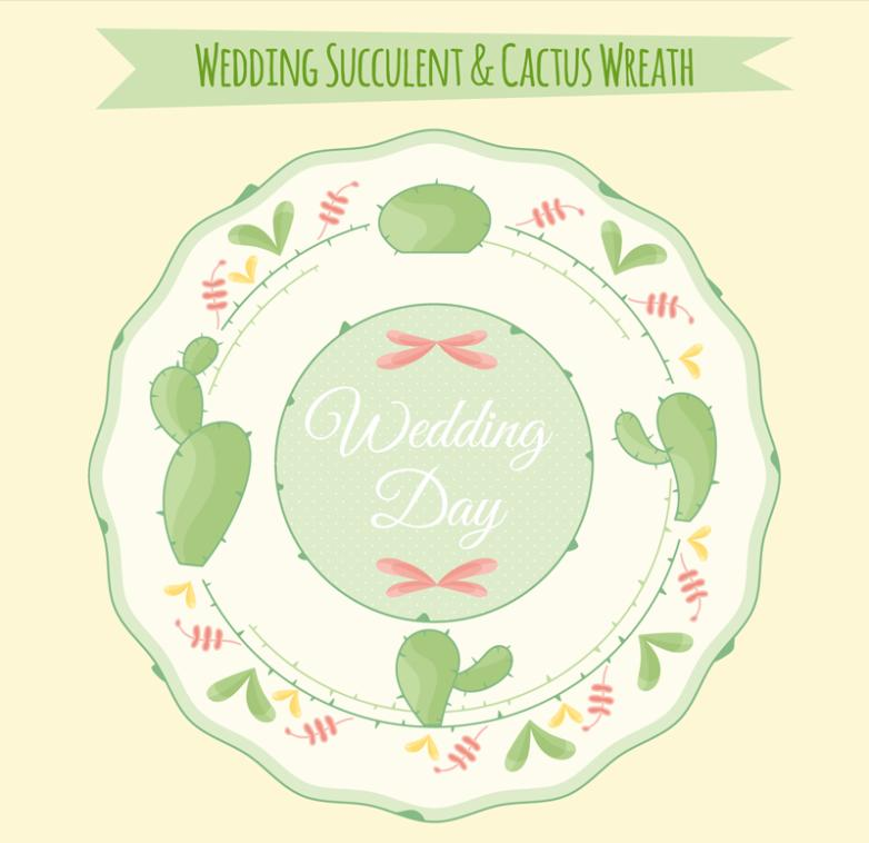 Green Meaty Plant Wedding Tags Vector
