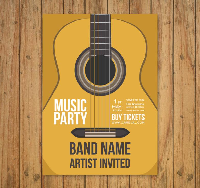 Creative Guitar Music Party Flyer Vector
