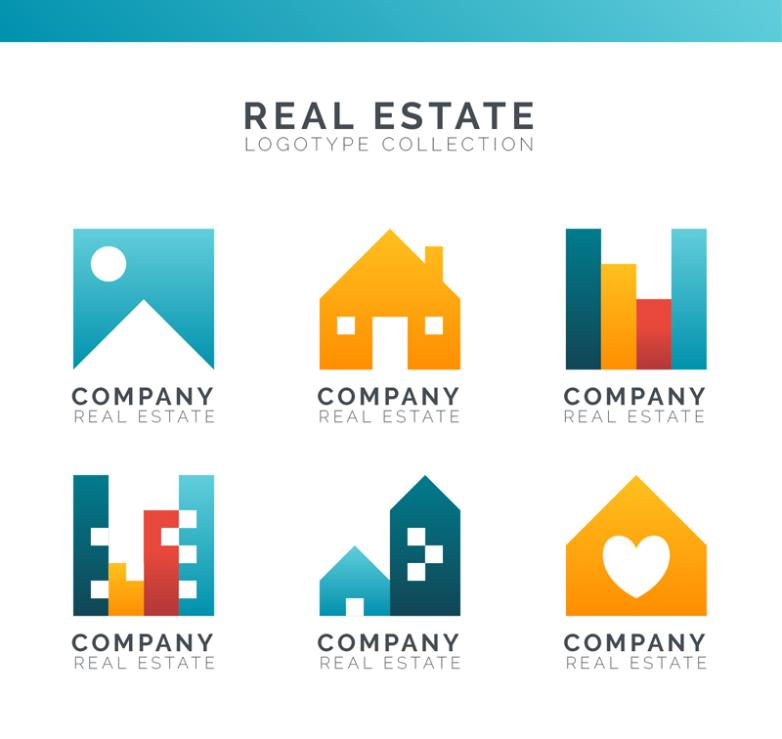 Six Color Real Estate Signs Vector