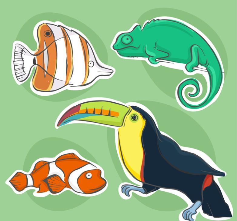 4 Animal Stickers Coloured Drawing Or Pattern Vector