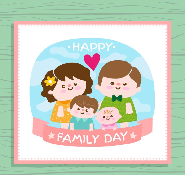Lovely Family Of Four Greeting Card Vector