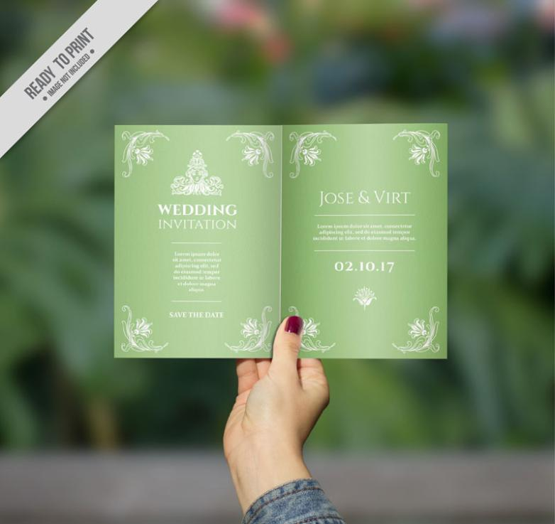 Holding A Green Wedding Invitations To Page Vector